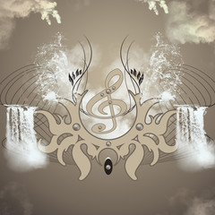 Clef with waterfall