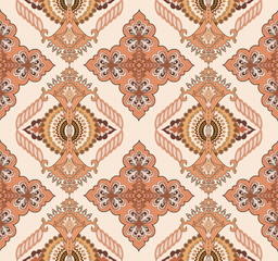 stylized rhomboid ornament in orange and brown colors