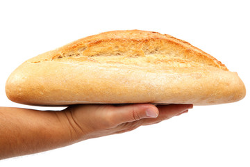 Bread in hand on white background.