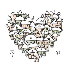 Winter city of love, heart shape sketch for your design
