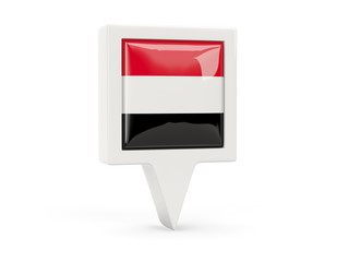 Square flag icon of yemen