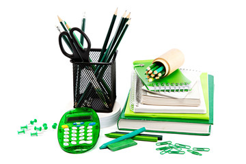 Office and student accessories. Back to school concept.