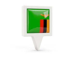 Square flag icon of zambia