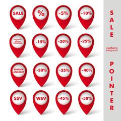 White Sale Pointer Red Background