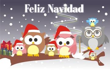 familia buho feliz Navidad