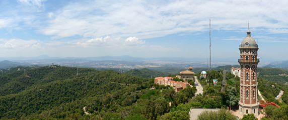 Panoramic view with water tower at Tibidabo mountain, Barcelona,
