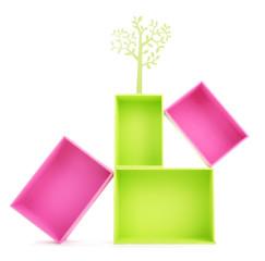 Multicoloured rectangular boxes isolated on white