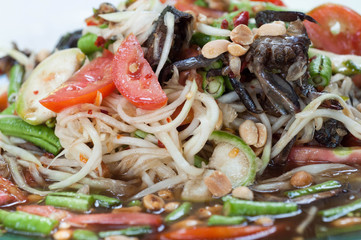 plate of Thai papaya salad also known as som tam