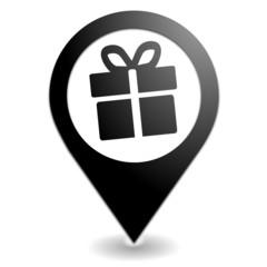 cadeau sur symbole localisation noir