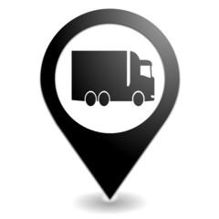 camion sur symbole localisation noir