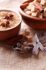 Brown sugar cubes and crystal sugar, spices in bowl