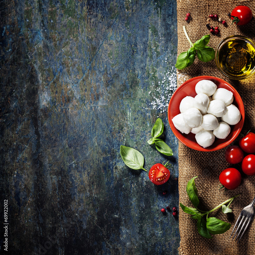Foto op Plexiglas Koken Cherry tomatoes, basil leaves, mozzarella cheese and olive oil f