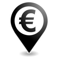euro sur symbole localisation noir