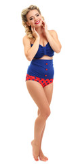 Beautiful girl with pretty smile in pinup style, isolated