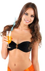 Beautiful young woman in swimsuit with cocktail  isolated