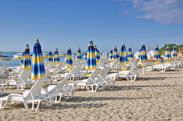 Beach chairs  the Black Sea, Bulgaria
