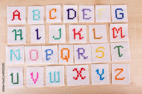 Leinwandbild Motiv Handmade embroidered letters