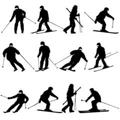 Mountain skier  man speeding down slope.