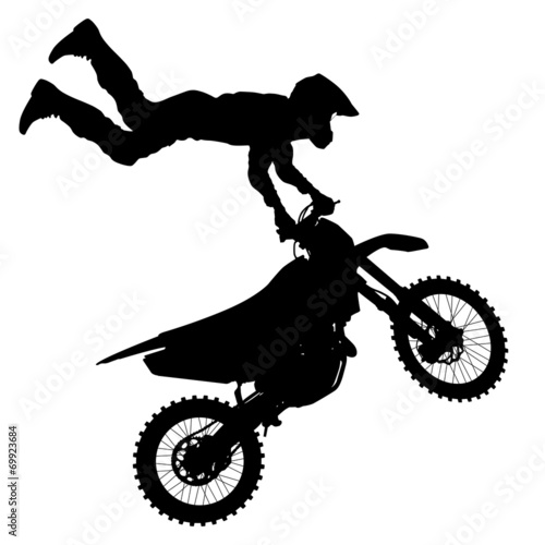Black silhouettes Motocross rider on a motorcycle.