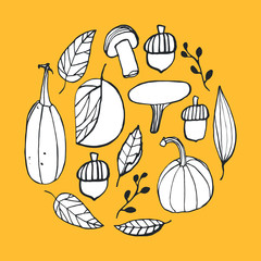 Doodle autumn vector elements. Seasonal illustration