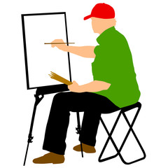 Silhouette, artist at work on a white background
