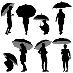 Black silhouettes man and woman under umbrella.