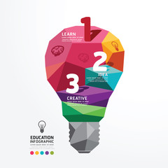 Vector infographic light bulb Design Conceptual Polygon Style