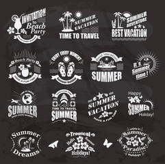 Travel and vacation labels on the chalkboard