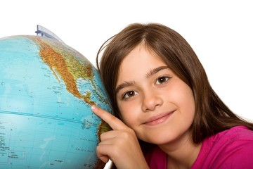 Cute pupil smiling with globe