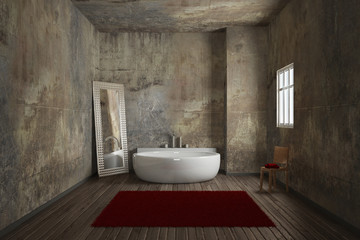 Vintage bathroom with carpet