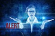 Alert against blue technology interface with binary code