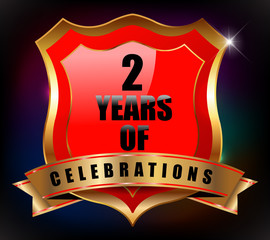 2 years anniversary golden celebration label badge