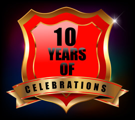 10 years anniversary golden celebration label badge