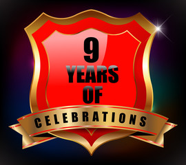 9 years anniversary golden celebration label badge