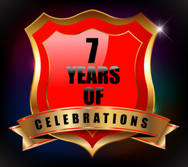 7 years anniversary golden celebration label badge