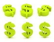 canvas print picture - Set of 3D dollar sign