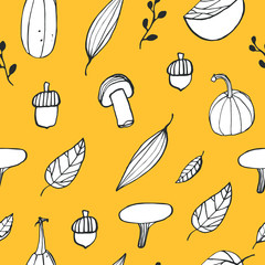 Doodle autumn vector seamless pattern. Seasonal background