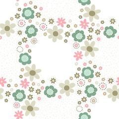 róż turkus brąz kwiaty i kropki deseń wieniec na białym tle