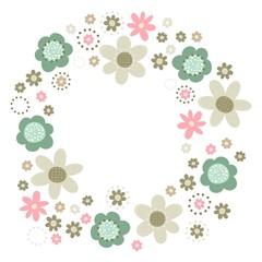 róż turkus brąz kwiaty i kropki wieniec na białym tle