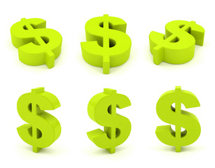 Set of 3D dollar sign