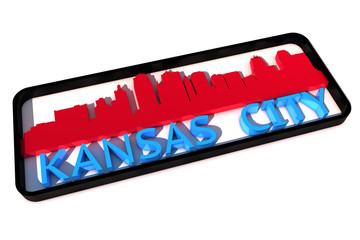 Kansas City base colors of the flag of the city 3D design