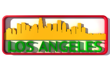 Los Angeles base colors of the flag of the city 3D design