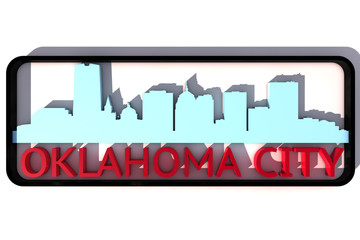Oklahoma base colors of the flag of the city 3D design