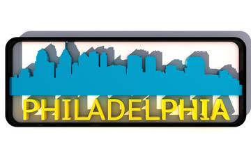 Philadelphia base colors of the flag of the city 3D design