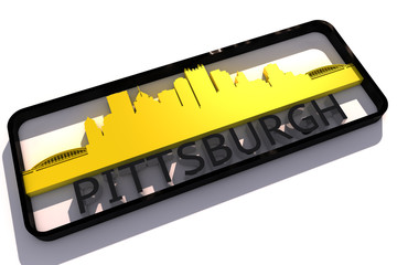 Pittsburgh base colors of the flag of the city 3D design