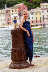 Portrait of fashion girl in Portofino, Italy