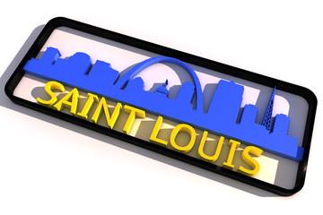 Saint Louis base colors of the flag of the city 3D design