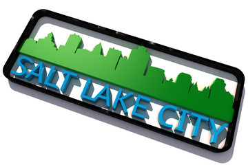 Salt Lake City base colors of the flag of the city 3D design