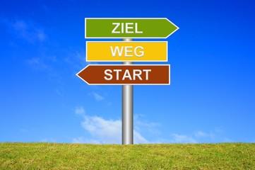 Schild Wegweiser: Start / Weg / Ziel