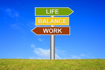 Schild Wegweiser: Work - Life - balance